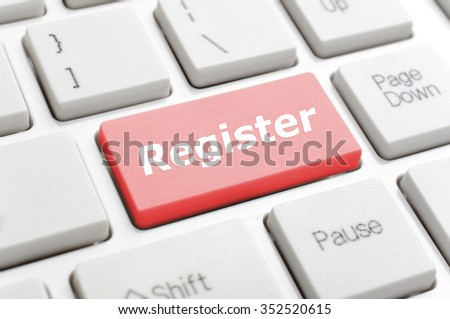 Red register key on keyboard