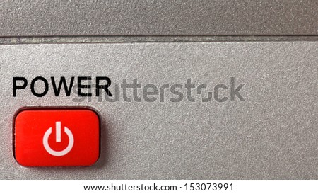 Red remote control power button with label  - stock photo