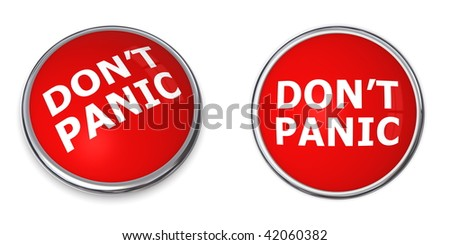red rendered 3d button with white word don't panic - stock photo