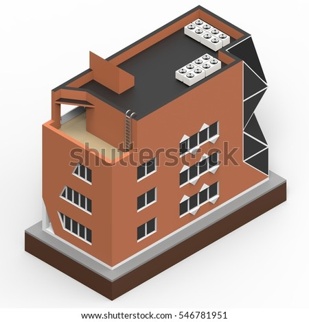 Red residential building in a small isolated platform. Raster 3d illustration of a perspective view. 3d rendering