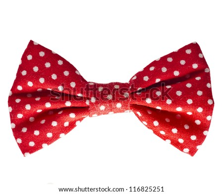 Red retro bow on white isolated on white background - stock photo
