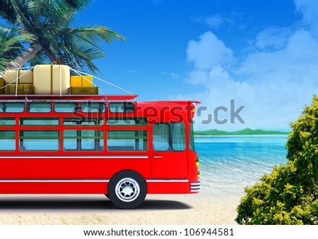 Red retro bus against the backdrop of beach