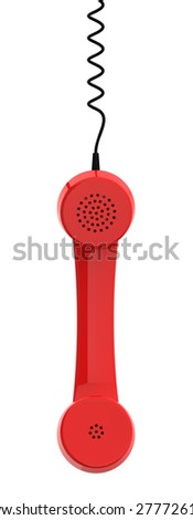 Red Retro Business Telephone Receiver Hangs by its Cord on the White Background - stock photo