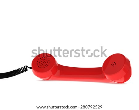 Red Retro Business Telephone Receiver Lies on the White Background - stock photo