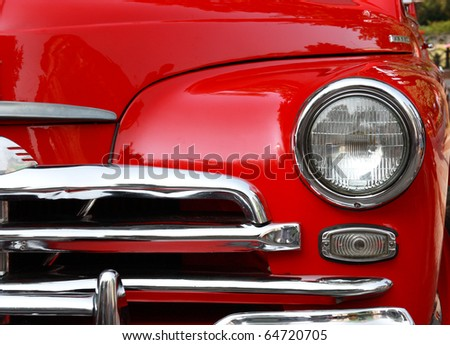 red retro car headlight - stock photo