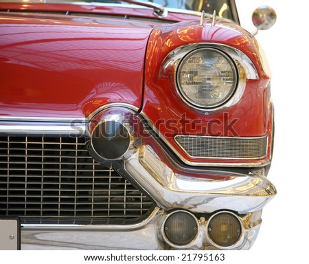 red retro car isolated on white - stock photo