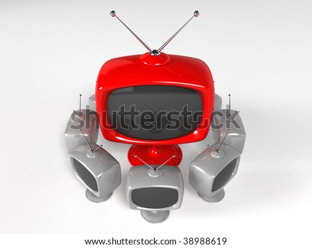 red retro cartoon television - stock photo