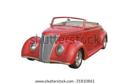 red retro coupe convertible isolated on white - stock photo