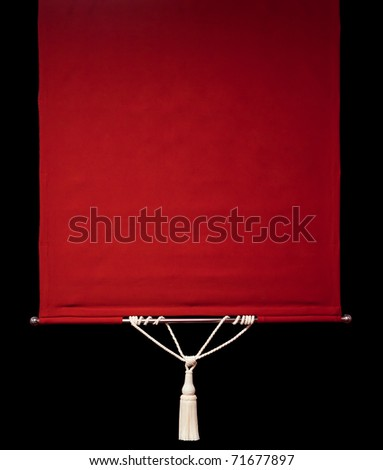 Red retro curtains with rope tassel isolated on black - stock photo