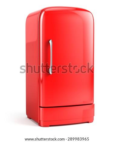 Red Retro fridge isolated on white background - stock photo