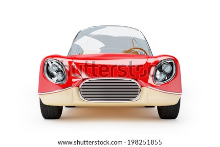 Red retro futuristic car from sixties in cartoon style - stock photo
