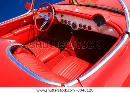 Red Retro Interior of a Vintage Car - stock photo