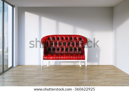 Red retro leather sofa in modern interior room with panoramic windows. 3d render - stock photo