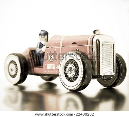 red retro race car (in retro color) - stock photo