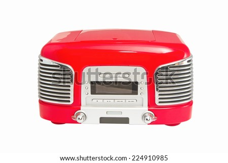 Red retro Radio on white background. - stock photo