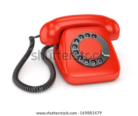 Red retro rotary dial telephone isolated on white background - stock photo