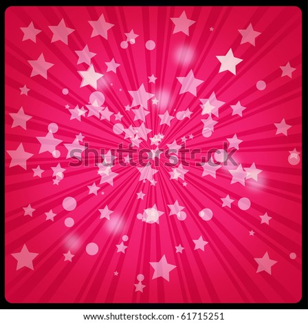 Red retro starburst background with snowflakes and stars. - stock photo