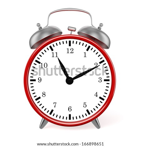 Red retro styled classic alarm clock isolated on white