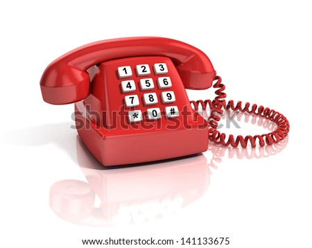 red retro telephone isolated over white background - stock photo