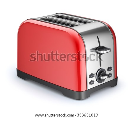 Red retro toaster - stock photo