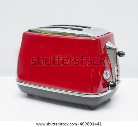 Red retro toaster - stock photo