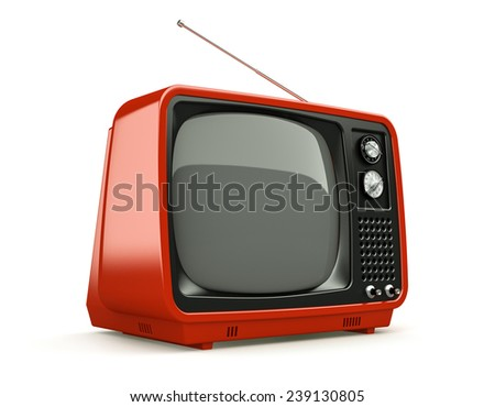Red retro TV isolated on white background  - stock photo