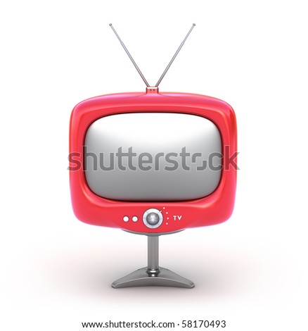 Red retro TV Set. Isolated on white background - stock photo