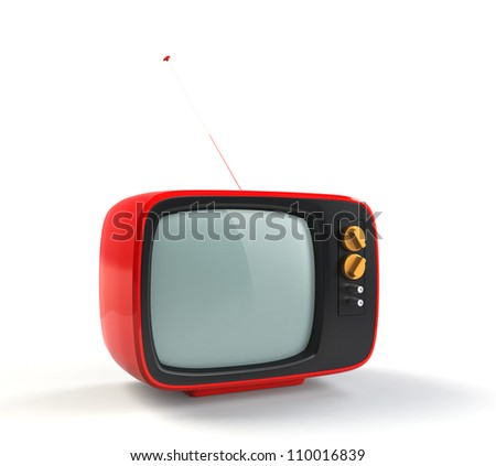 red retro TV with white background - stock photo