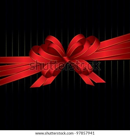 red ribbon and bow background (also available vector version) - stock photo