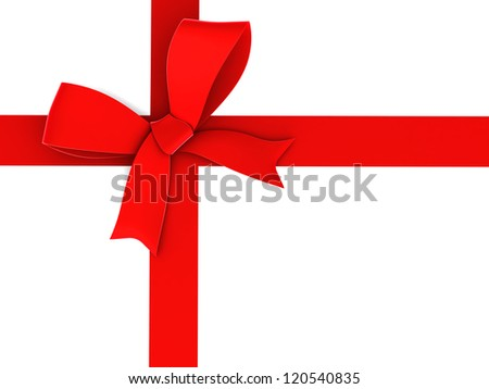 Red ribbon and bow. Isolated on white