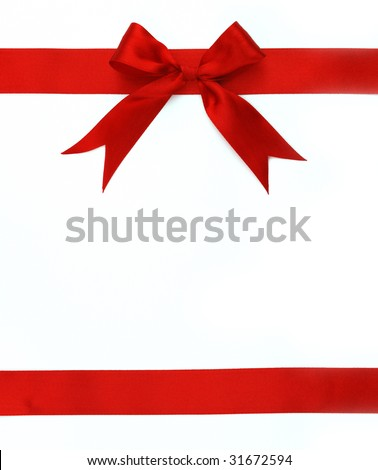 red ribbon and bow isolated on white background - stock photo