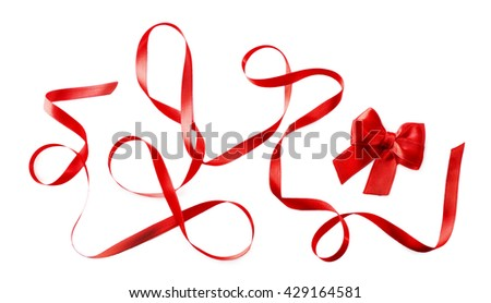 Red ribbon and bow on a white background