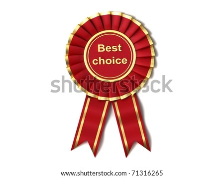 Red Ribbon Award labeled the best choice - stock photo