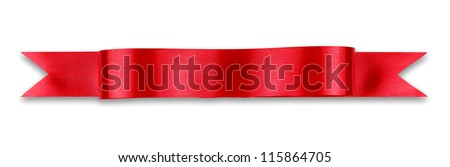 Red ribbon banner on white background - stock photo