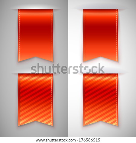 Red ribbon bookmark for books. Set of  icons on a contrasting background - stock photo