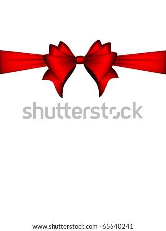 Red Ribbon Bow | Christmas Card - stock photo