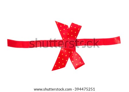 Red ribbon bow decoration isolated on white. Object with clipping path - stock photo