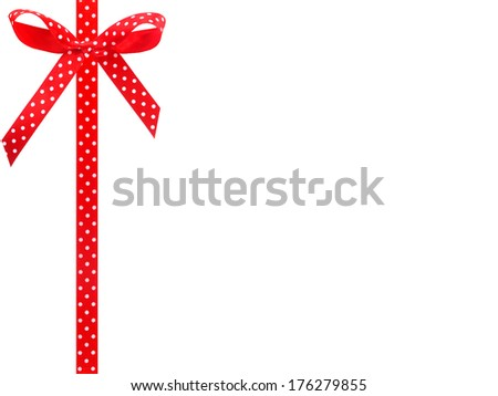 Red ribbon bow isolated