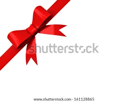 Red ribbon bow isolated on corner white background