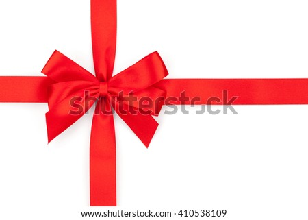 Red ribbon bow. Isolated on white background