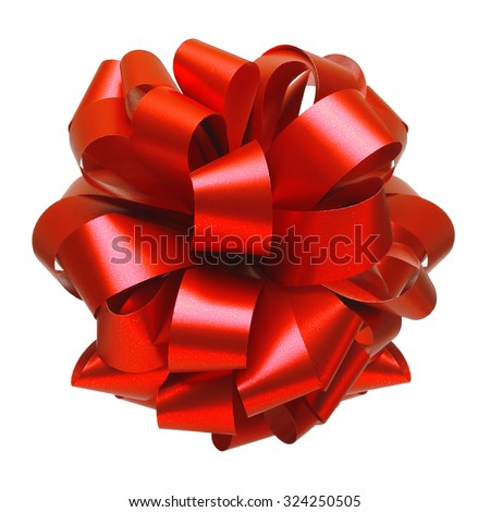 Red ribbon bow isolated on white background. Christmas decoration. - stock photo