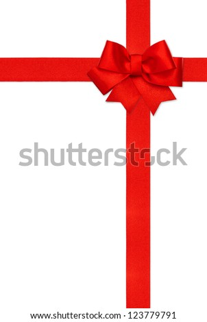 red ribbon bow isolated on white background. gift card concept. festive backdrop