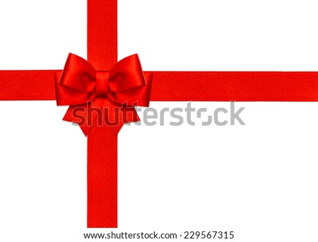 red ribbon bow isolated on white background. holidays decoration - stock photo