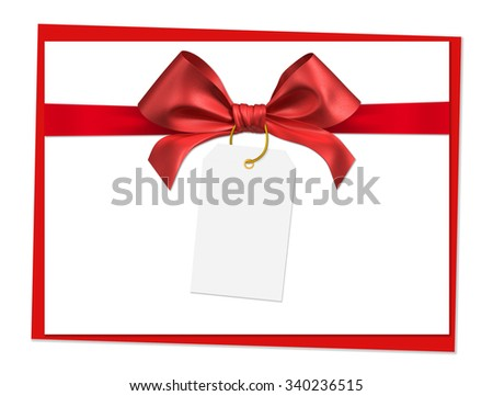 red ribbon bow on white background - stock photo