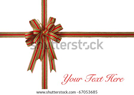 Red ribbon bow on white background with copy space. - stock photo