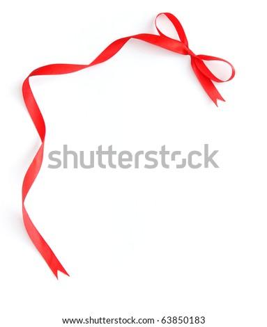 Red ribbon frame - stock photo