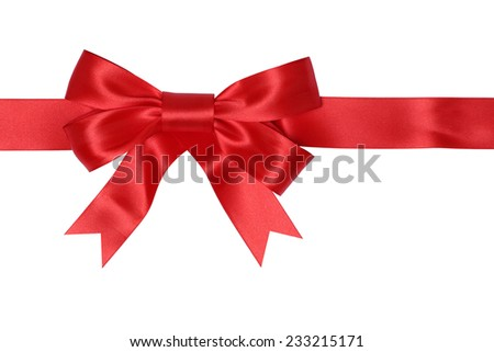 Red ribbon gift with bow for gifts on Christmas or Valentines day isolated on a white background - stock photo