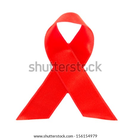 Red ribbon HIV, AIDS isolated on white