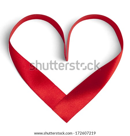 Red ribbon in a heart shape isolated on white. 3D illustration. - stock photo