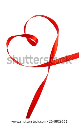 Red ribbon in heart shape,valentines concept